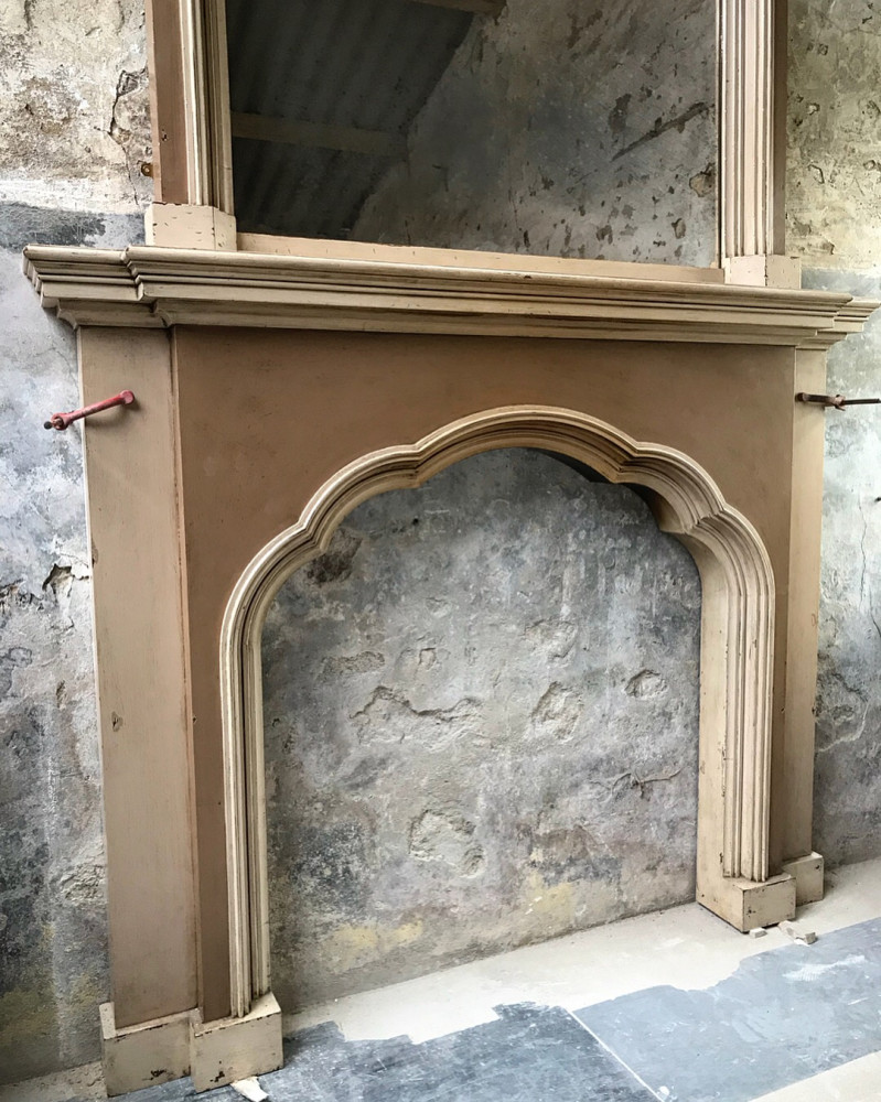 Reclaimed English Painted Wood Fireplace