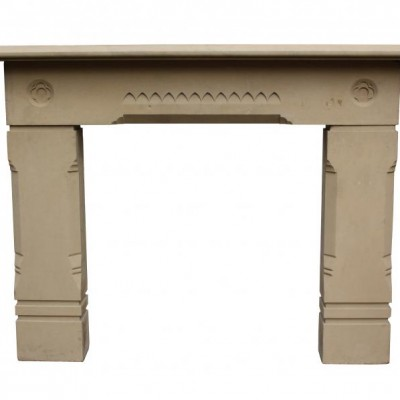 A late 19th C. carved stone fire surround
