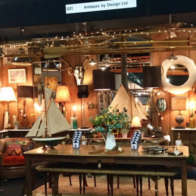 Innovative reuse at the popular Antiques By Design stand, Battersea Decorative Fair