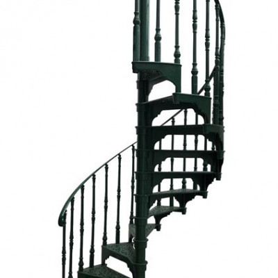 Antique Cast Iron Green Spiral Staircase With Large Balcony