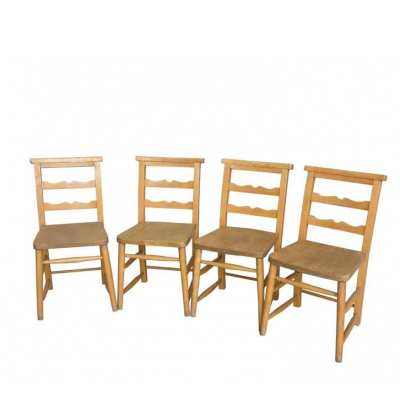 Set of 4 Solid Church Chapel Chairs without Bible Backs