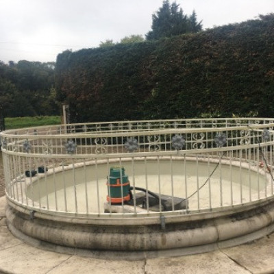 Circular railings for fountain.