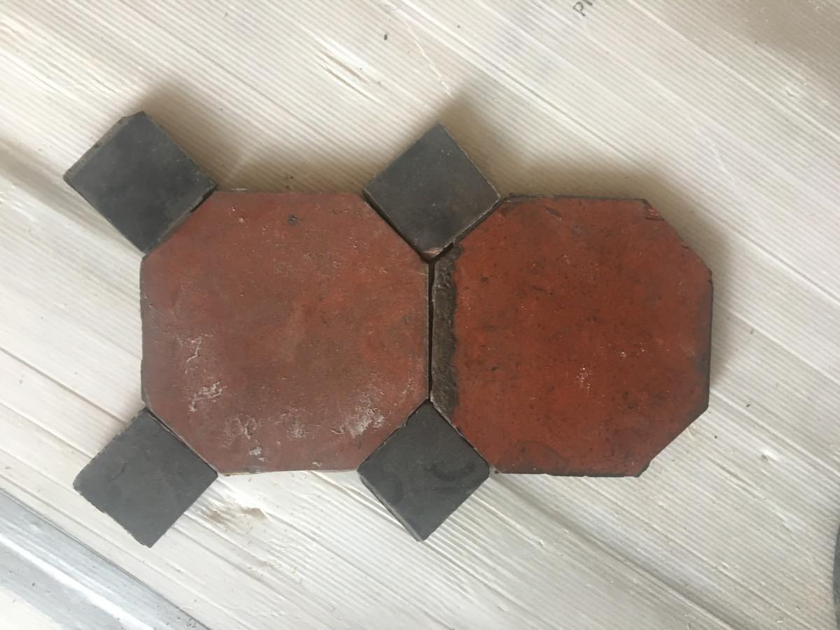 Octagonal red floor tiles