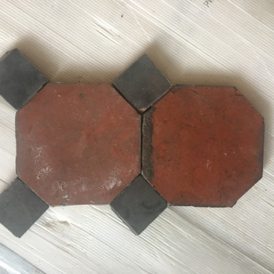 Octagonal red floor tiles