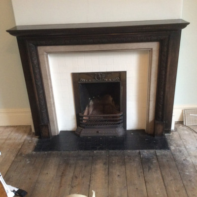 1920s - 1930s fireplace with carved wooden surround for sale - sensible offers