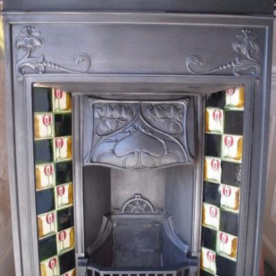 Stunning Original Cast Iron Combination Fireplace - Rare Art Nouveau Design