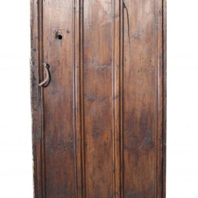 An 18th C. stained pine plank door