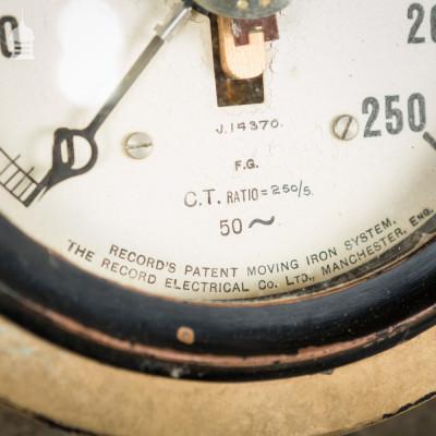 Vintage Industrial Amperes Gauge Electrical Dial