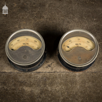 Pair of Vintage Industrial Electrical Gauges Dials