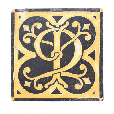 18th Century English Monogrammed Encaustic Tile