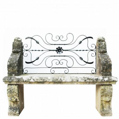 Carved Limestone Garden Bench Seat