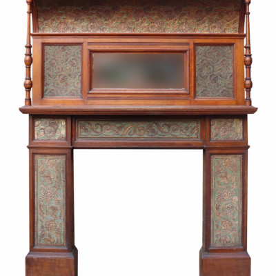 Arts And Crafts Period Oak Fire Surround With Mirrored Over Mantel