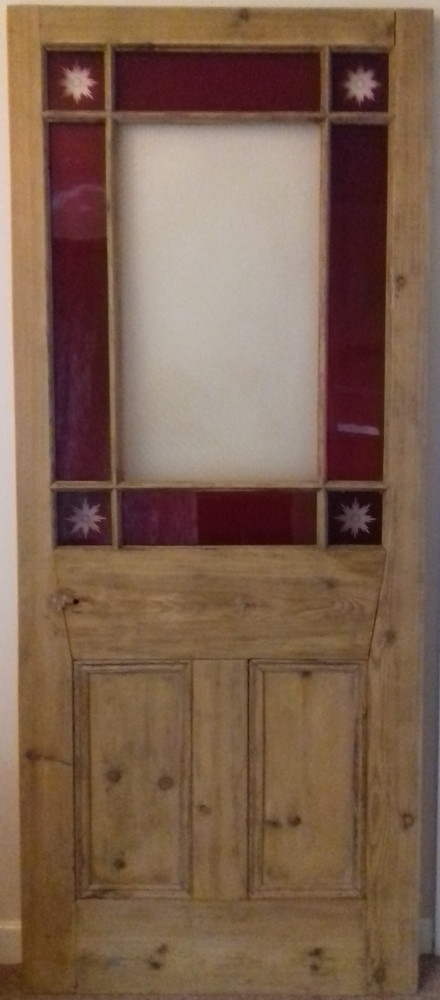 Glazed Victorian pine margin door