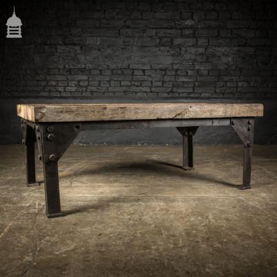 Vintage Industrial Steel Base with Reclaimed Oak 3 Plank Top Coffee Table