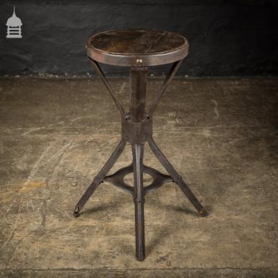 Vintage Industrial Steel Frame Stool with Hardwood Seat