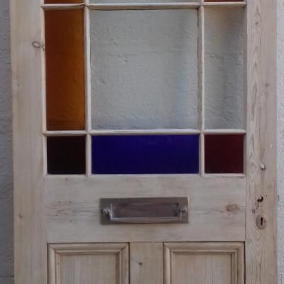 Glazed Victorian pine margin door