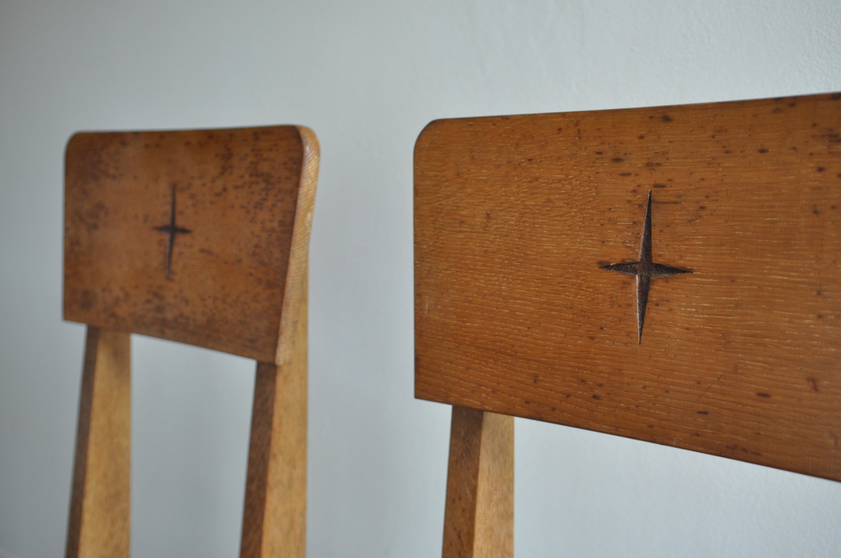 Pair 1950s Oak Church Chairs