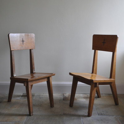 Pair 1950s Oak Church Chairs