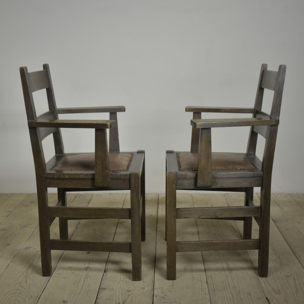 Pair Antique Mission Armchairs