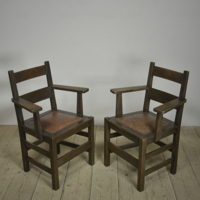 Pair Antique Mission Armchairs