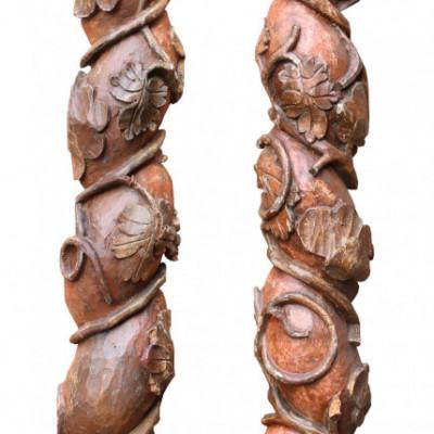 Pair Of 18th Century Italian Carved Solomonic Half Columns