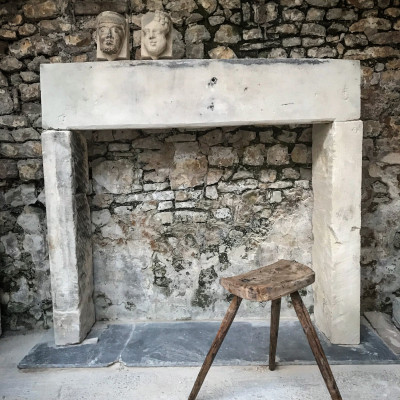 Early Antique Bath Stone Fireplace