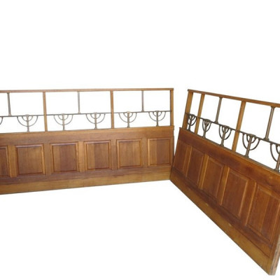 Two Pieces Antique of Oak Wall Panelling With Brass Detailing