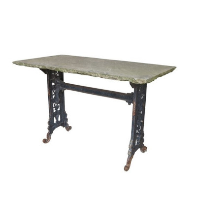 Antique Black Cast Iron Outdoor Garden Table With Stone Top