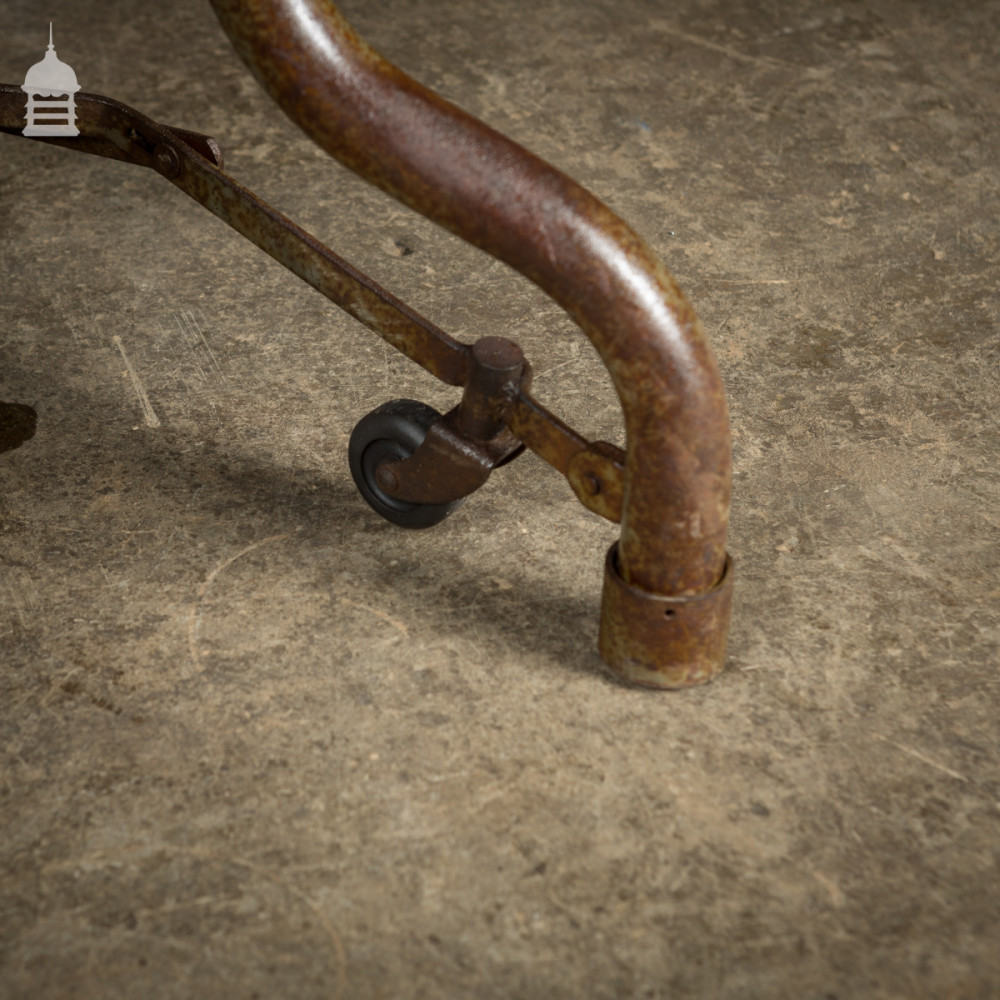 Industrial Steel Trolley Table with Reclaimed Oak Top