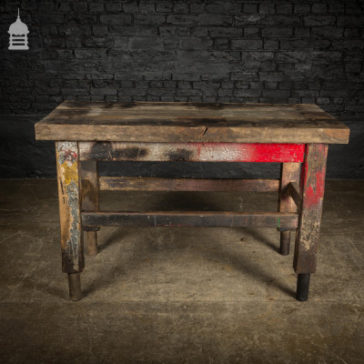 Vintage Industrial Oak Workbench with Rivetted Top