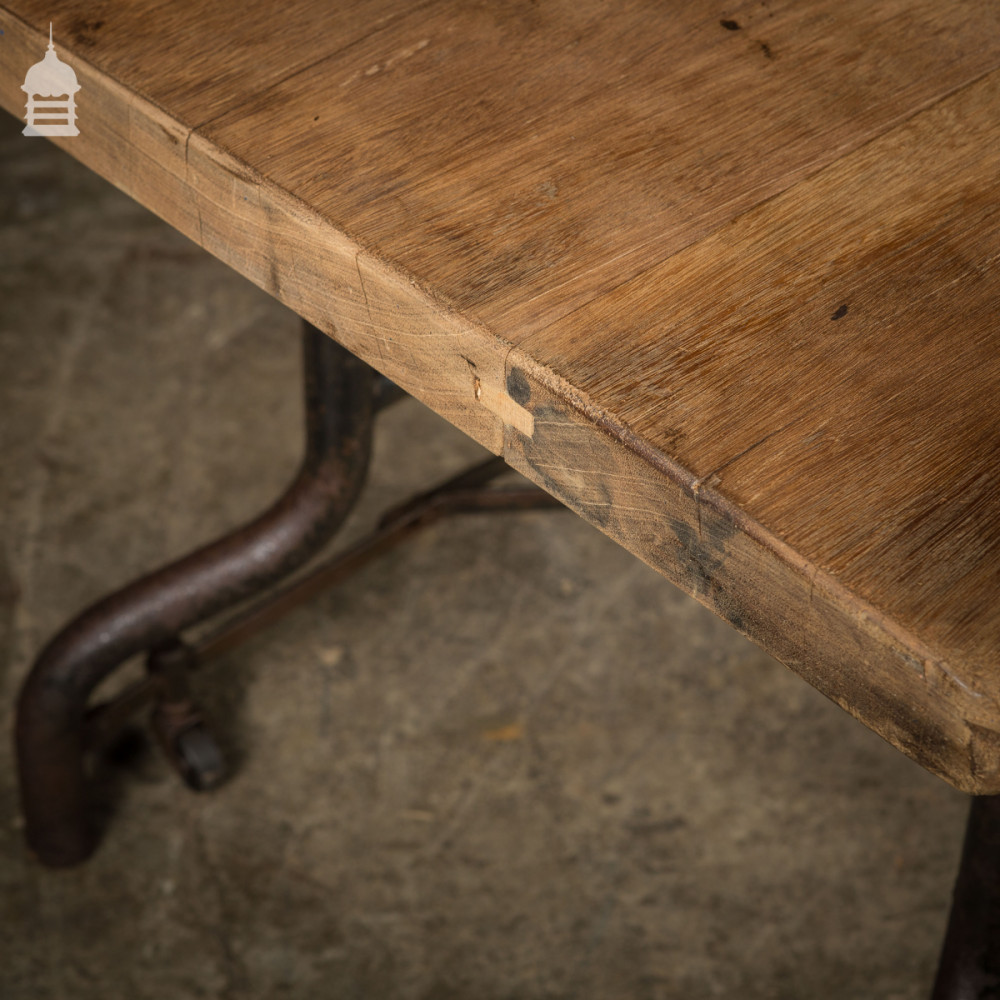 Vintage Industrial Steel Table Base Trolley with Reclaimed Mahogany Top