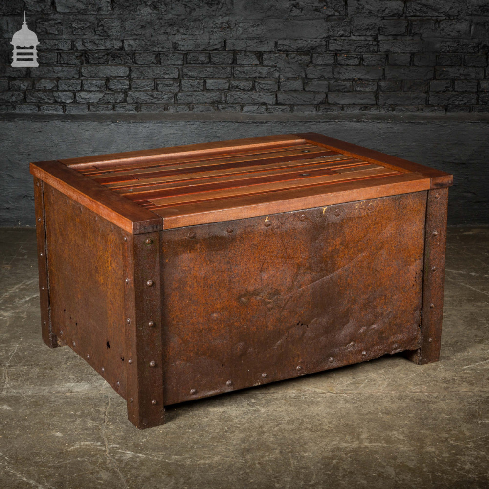Vintage Steel Based Coffee Table with Reclaimed Mahogany Top