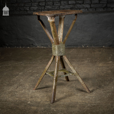 Vintage Steel Factory Stool Stand with Pine Seat
