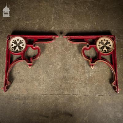 Pair of Large Decorative Victorian Cast Iron Railway Brackets