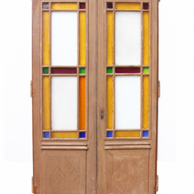 Pair Of Antique Interior Pine Stained Glass Double Doors