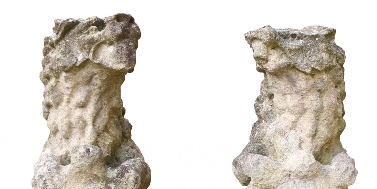 19th Century English Limestone Armorial Lions