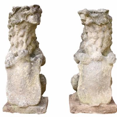 19th Century English Limestone Armorial Lions