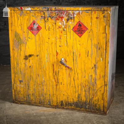 Vintage Industrial Steel Distressed Yellow Painted Workshop Cabinet