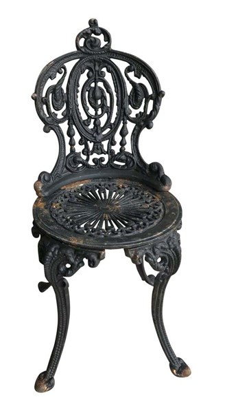 Fine Diy Vintage Black Solid Cast Iron Garden Outdoor Chair Inzonedesignstudio Interior Chair Design Inzonedesignstudiocom