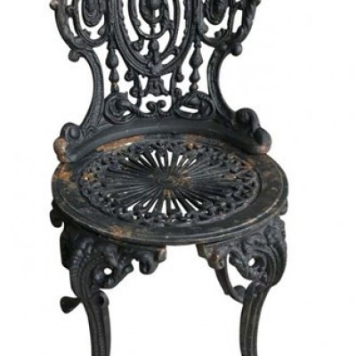 DIY Vintage Black Cast Iron Garden Outdoor Chair