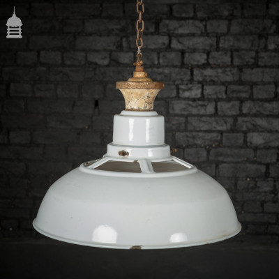 Vintage White Enamelled Pendant Light Shade