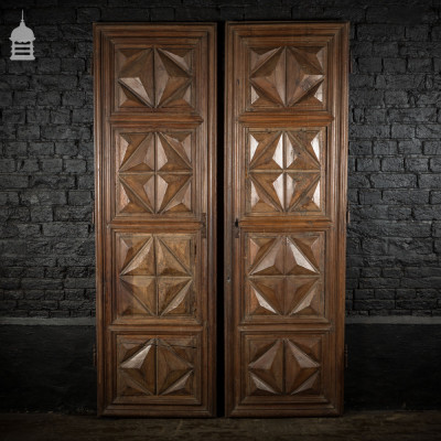 Pair of 19th C French Hardwood Geometric Design Panelled Double Doors