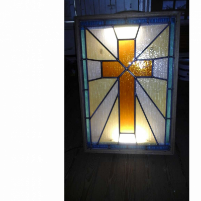 Stained glass cross window light box
