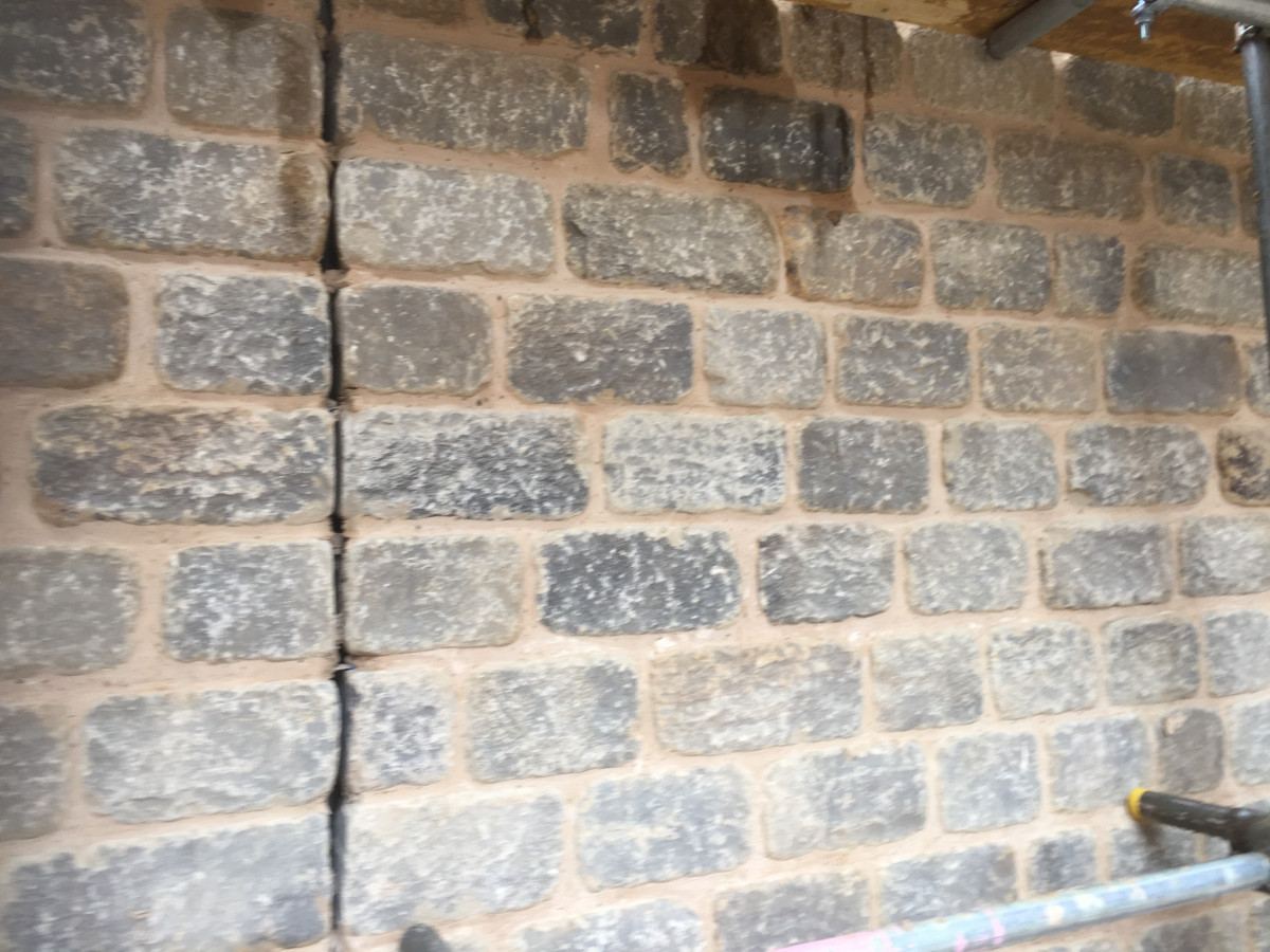 Punch face sandstone walling reclaimed