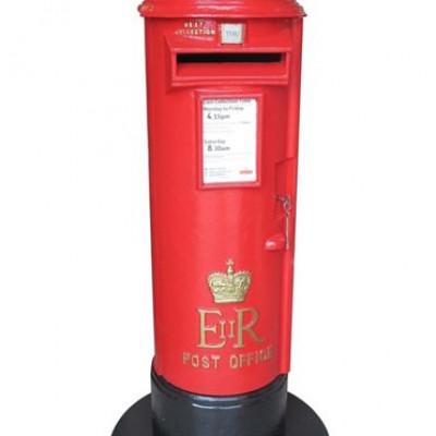 Original Antique Floor Standing Cast Iron Elizabeth II Pillar Box