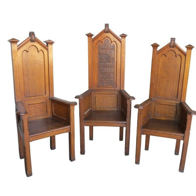 Antique Hand Carved Solid Oak Carved Altar Chairs