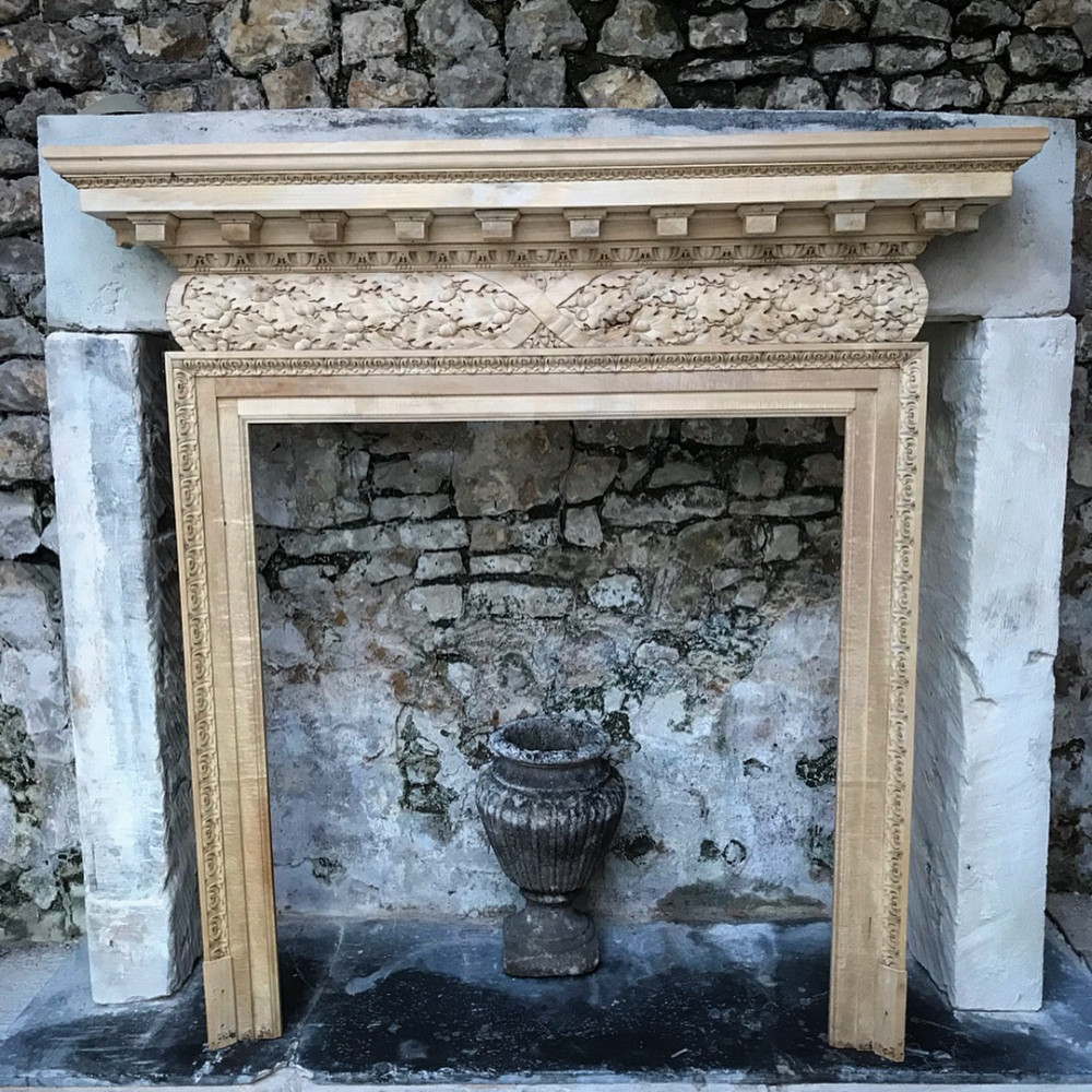 Reclaimed English Georgian Style Carved Pine Fireplace