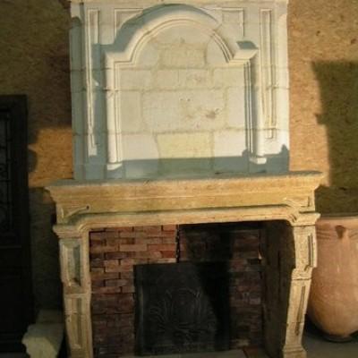 Cheminee en pierre a trumeau - Monumental Louis XIV fireplace