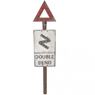 Original Double Bend Road Warning Pole Mounted Sign