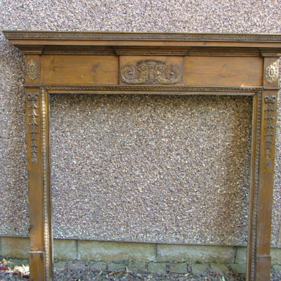 Antique pine and gesso/compo chimneypiece